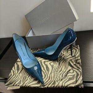 Gianmarco Lorenzo Blue Pointy Toe Stiletto Heels